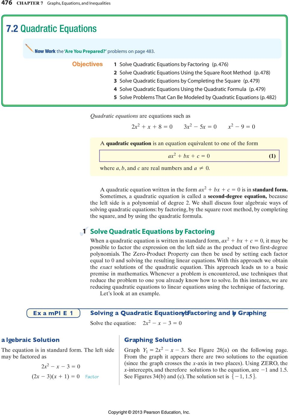 479) 5 Solve Problems That Can Be Modeled by Quadratic Equations (p.