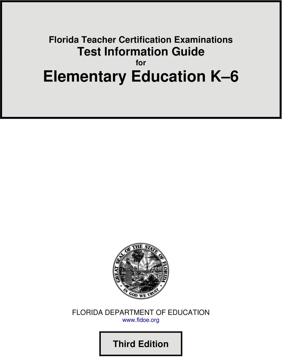 for Elementary Education K 6 FLORIDA
