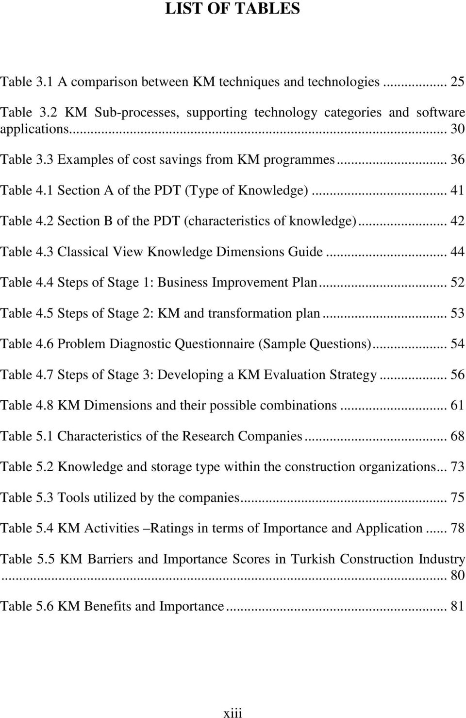 3 Classical View Knowledge Dimensions Guide... 44 Table 4.4 Steps of Stage 1: Business Improvement Plan... 52 Table 4.5 Steps of Stage 2: KM and transformation plan... 53 Table 4.