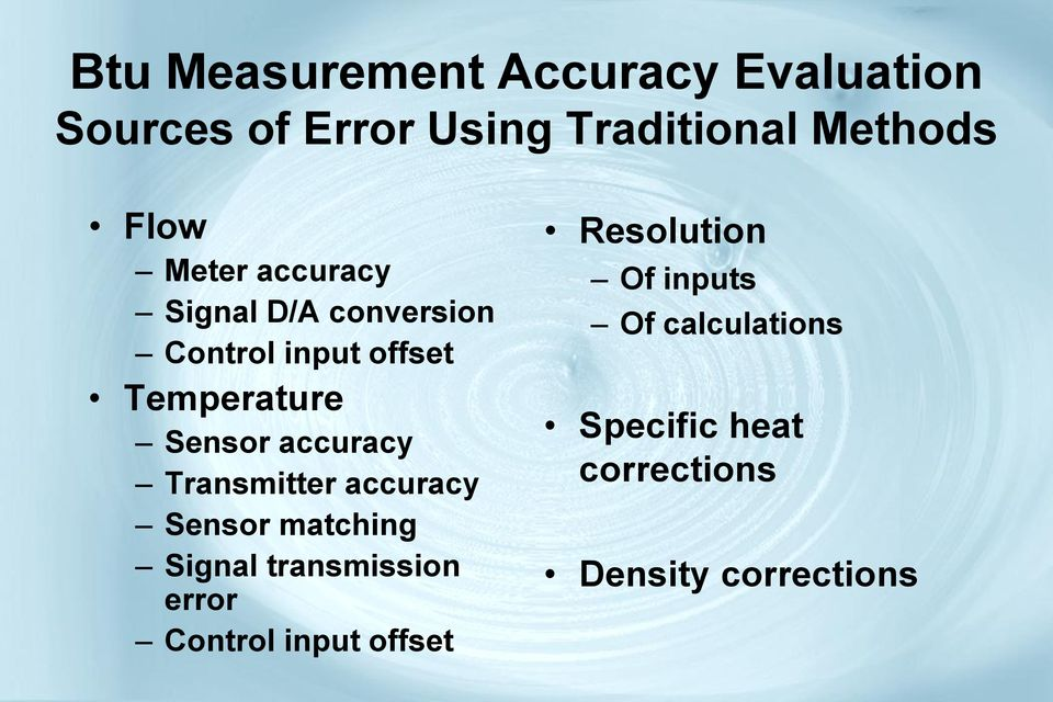 accuracy Transmitter accuracy Sensor matching Signal transmission error Control