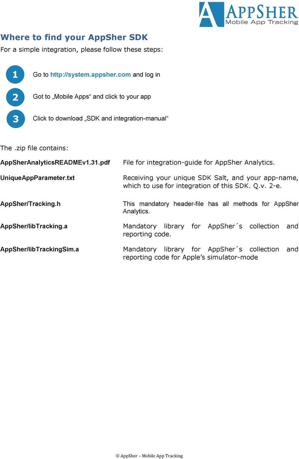 txt AppSher/Tracking.h File for integration-guide for AppSher Analytics. Receiving your unique SDK Salt, and your app-name, which to use for integration of this SDK. Q.v. 2-e.