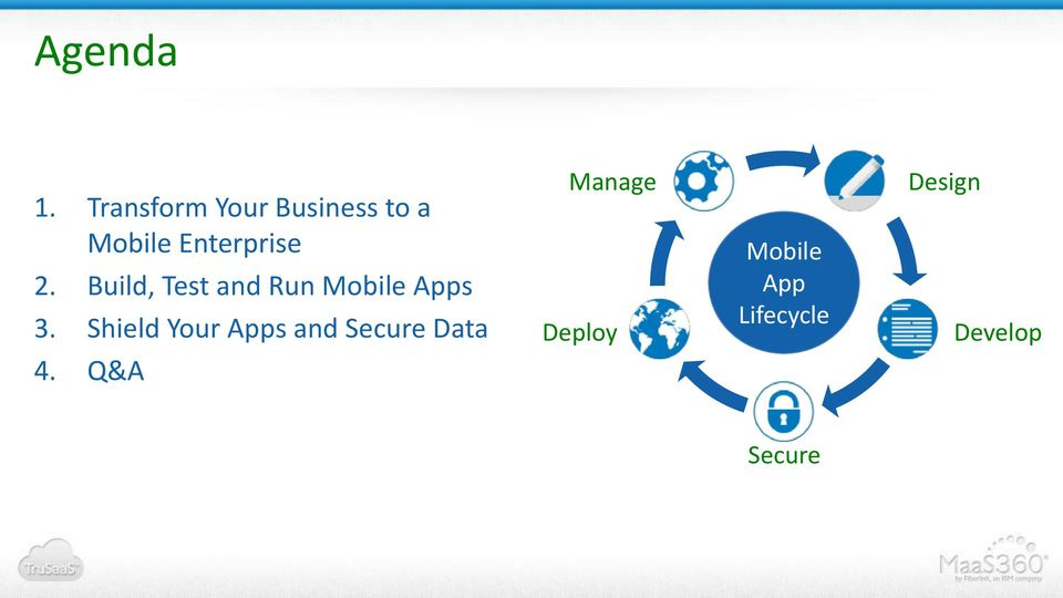 2. Build, Test and Run Mobile Apps 3.