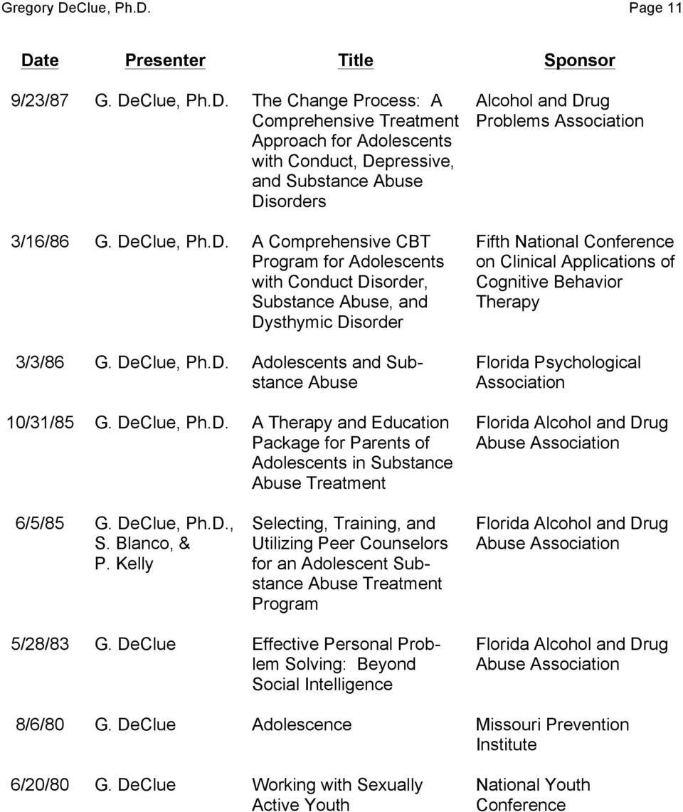 Ph.D. A Therapy and Education Package for Parents of Adolescents in Substance Abuse Treatment Alcohol and Drug Problems Association Fifth National Conference on Clinical Applications of Cognitive