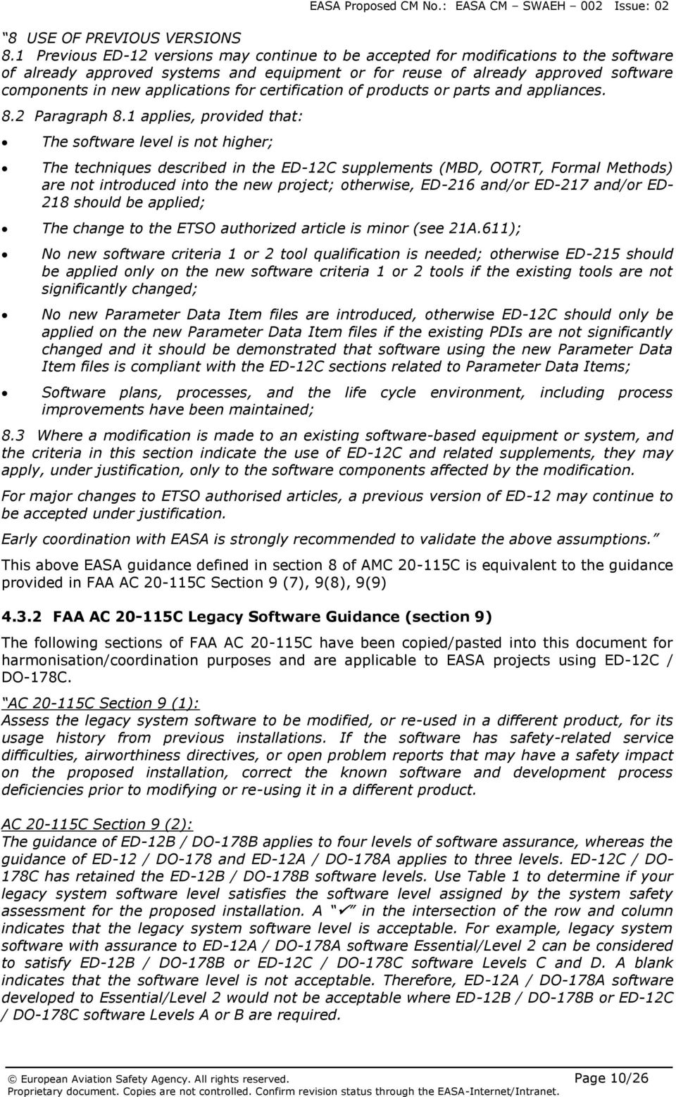 applications for certification of products or parts and appliances. 8.2 Paragraph 8.