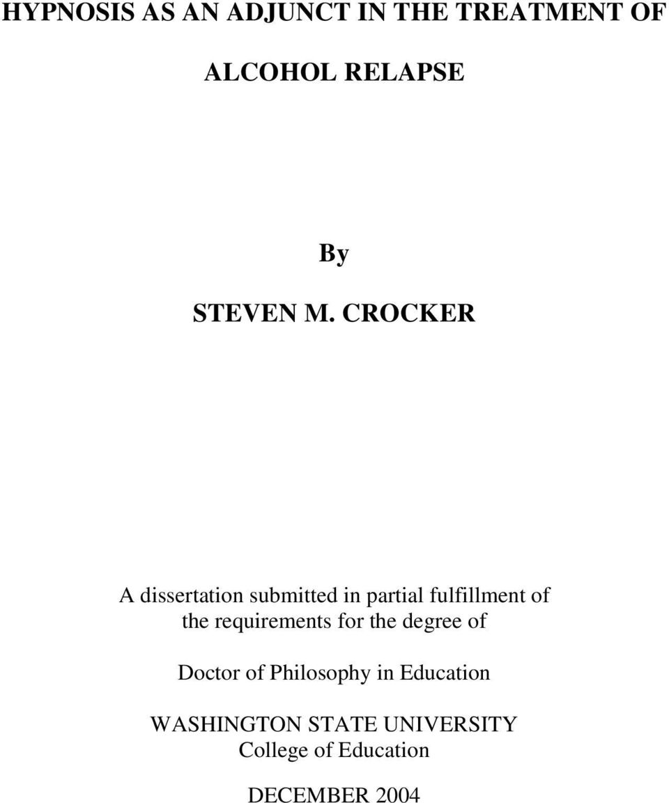 CROCKER A dissertation submitted in partial fulfillment of the