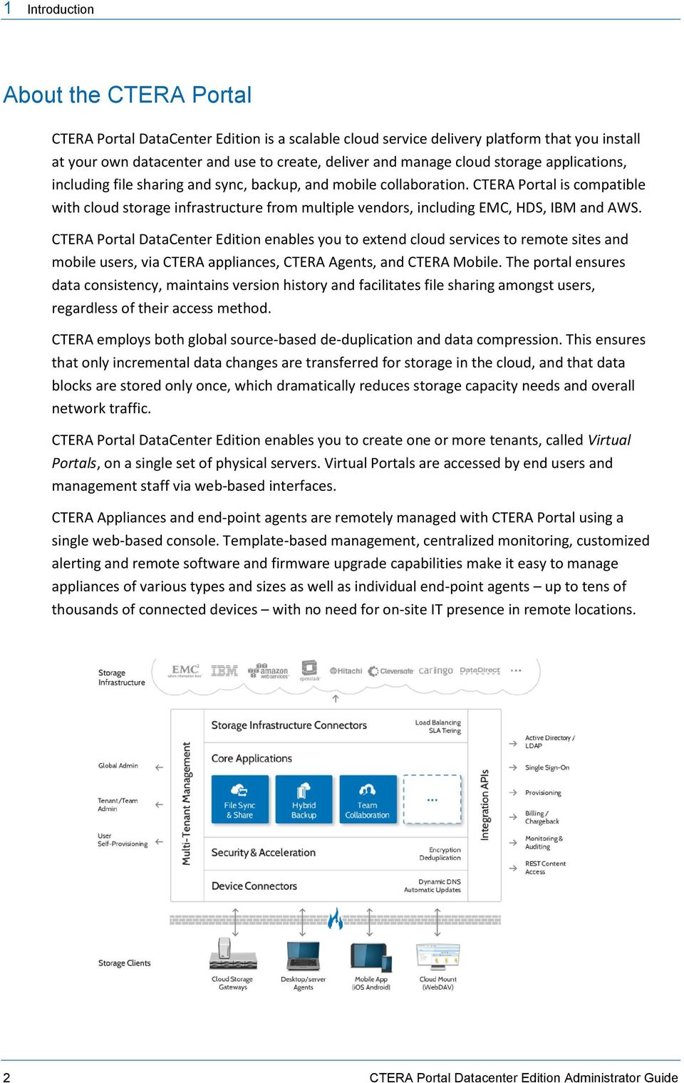 CTERA Portal is compatible with cloud storage infrastructure from multiple vendors, including EMC, HDS, IBM and AWS.