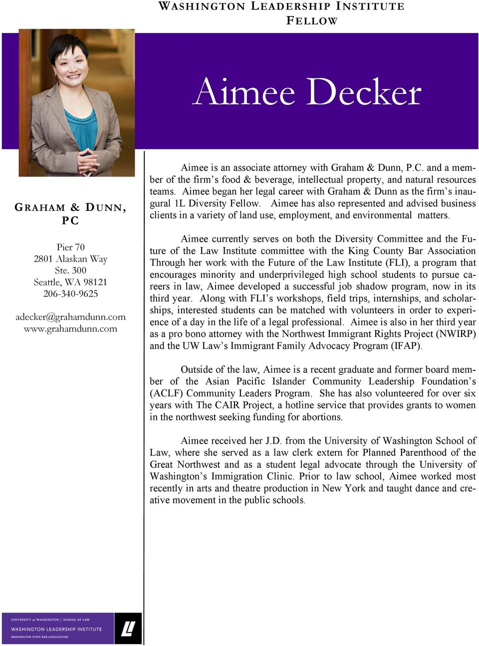 Aimee has also represented and advised business clients in a variety of land use, employment, and environmental matters.