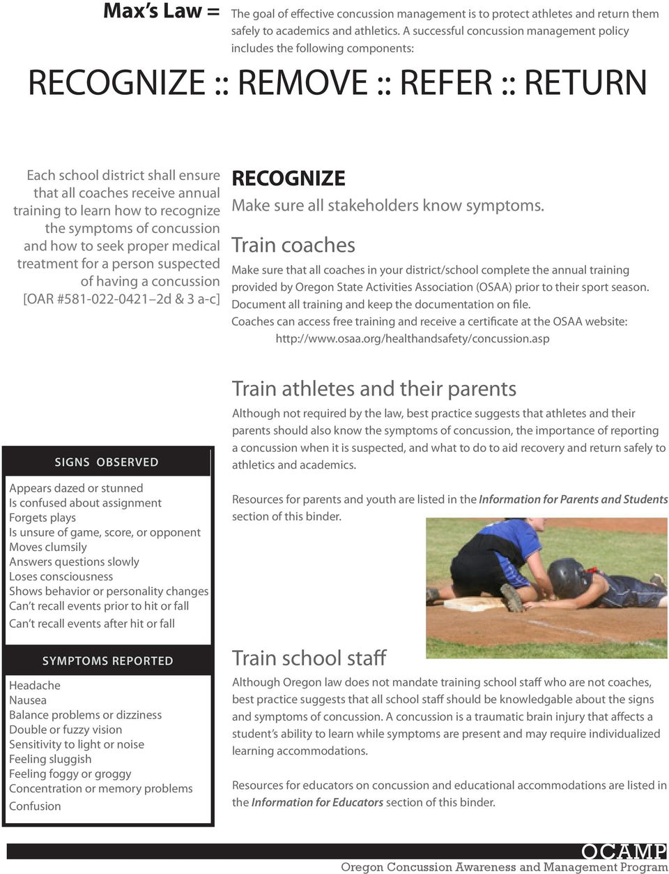 how to recognize the symptoms of concussion and how to seek proper medical treatment for a person suspected of having a concussion [OAR #581-022-0421 2d & 3 a-c] SIGNS OBSERVED Appears dazed or