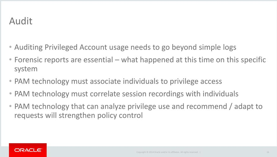 individuals to privilege access PAM technology must correlate session recordings with individuals