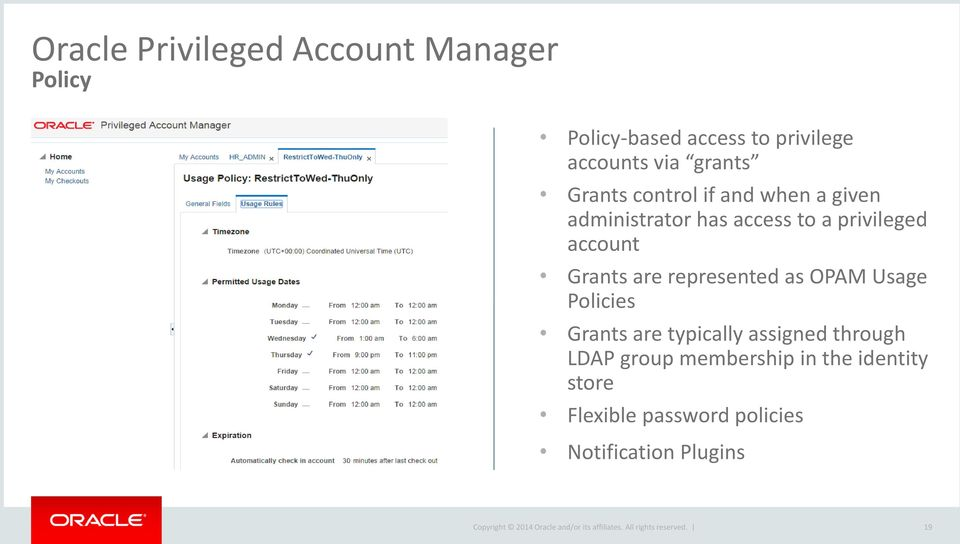 account Grants are represented as OPAM Usage Policies Grants are typically assigned