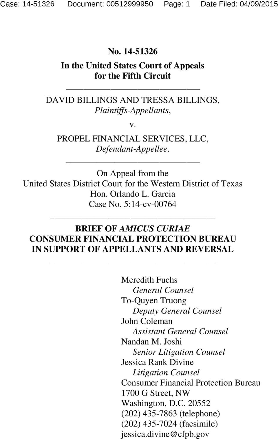 On Appeal from the United States District Court for the Western District of Texas Hon. Orlando L. Garcia Case No.