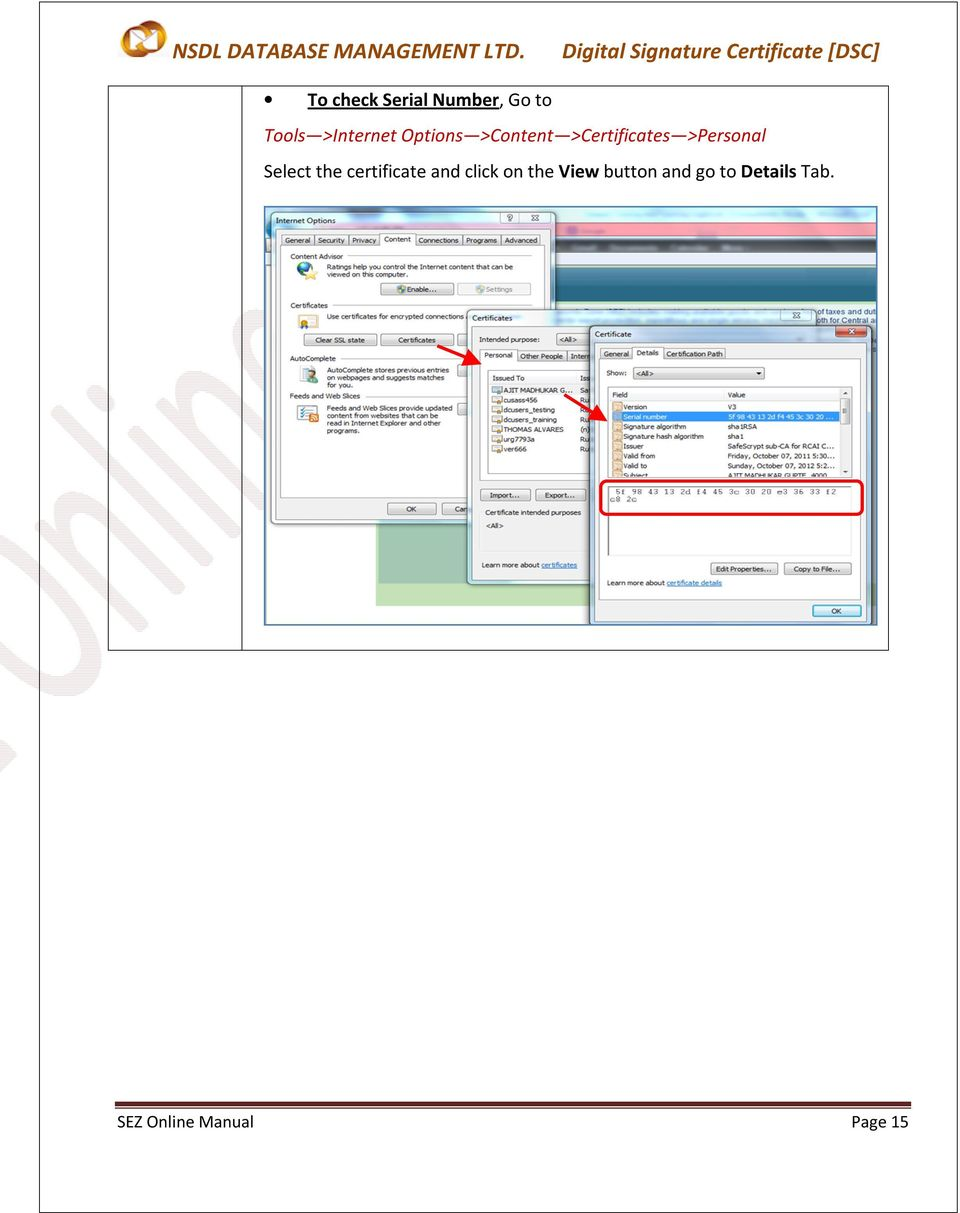 Select the certificate and click on the View