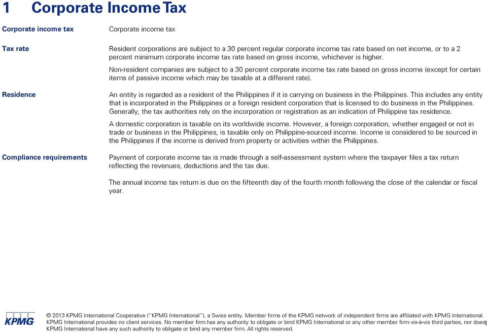Non-resident companies are subject to a 30 percent corporate income tax rate based on gross income (except for certain items of passive income which may be taxable at a different rate).