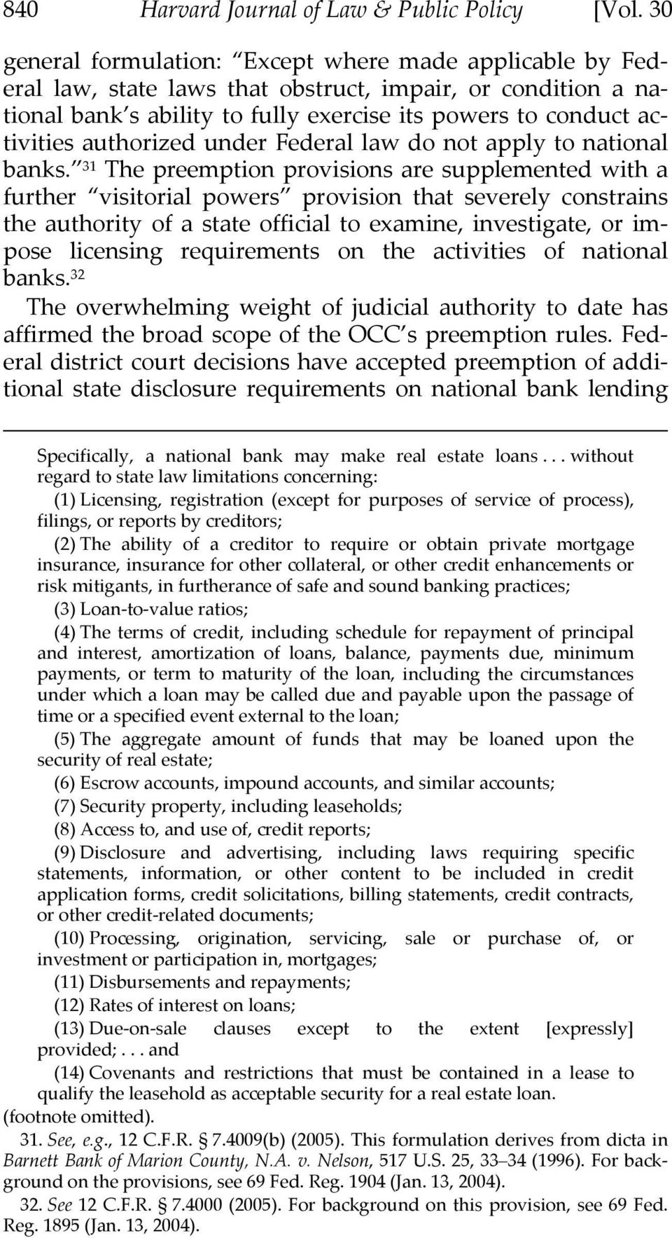 authorized under Federal law do not apply to national banks.