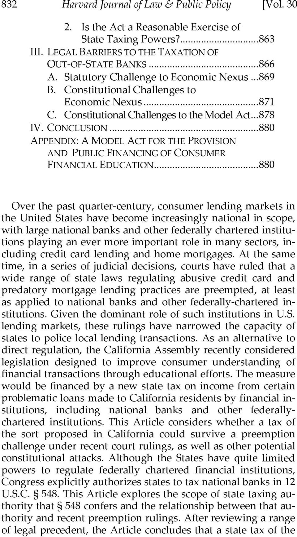 ..880 APPENDIX: A MODEL ACT FOR THE PROVISION AND PUBLIC FINANCING OF CONSUMER FINANCIAL EDUCATION.