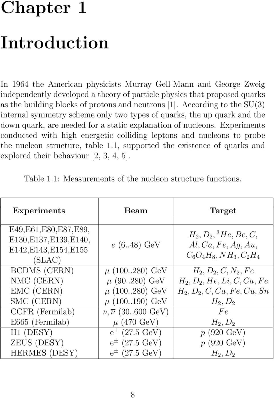 Experiments conducted with high energetic colliding leptons and nucleons to probe the nucleon structure, table 1.1, supported the existence of quarks and explored their behaviour [2, 3, 4, 5].