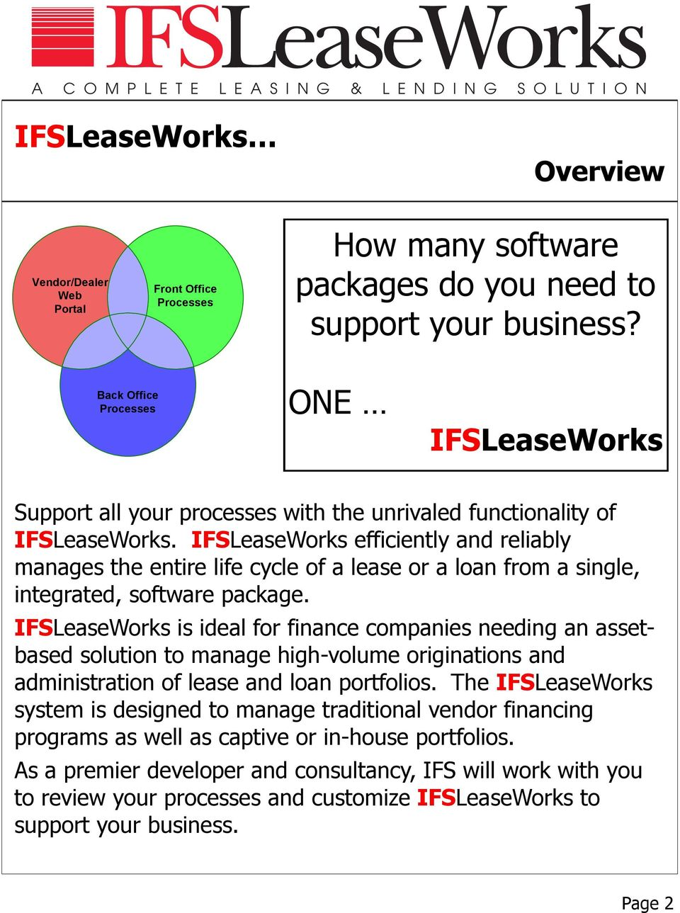 IFSLeaseWorks efficiently and reliably manages the entire life cycle of a lease or a loan from a single, integrated, software package.