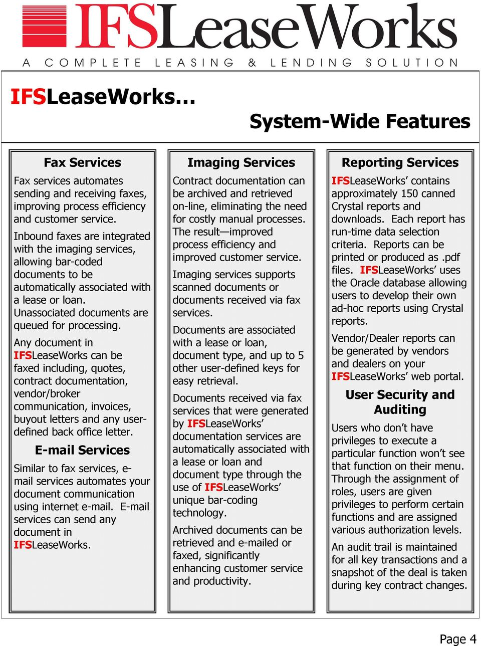 Any document in IFSLeaseWorks can be faxed including, quotes, contract documentation, vendor/broker communication, invoices, buyout letters and any userdefined back office letter.