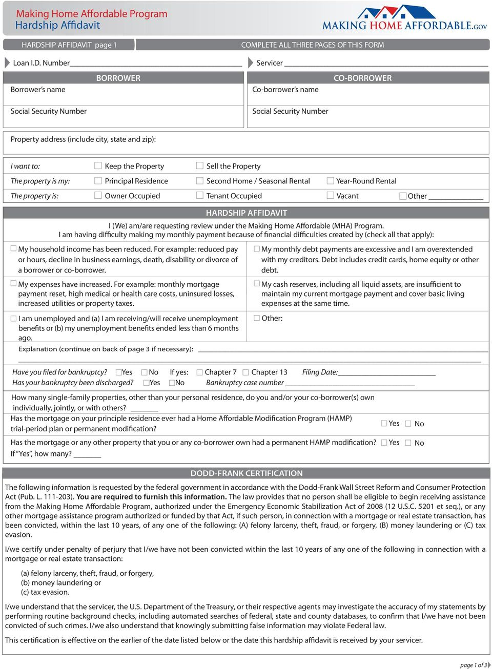 VIT page 1 COMPLETE ALL THREE PAGES OF THIS FORM Loan I.D.
