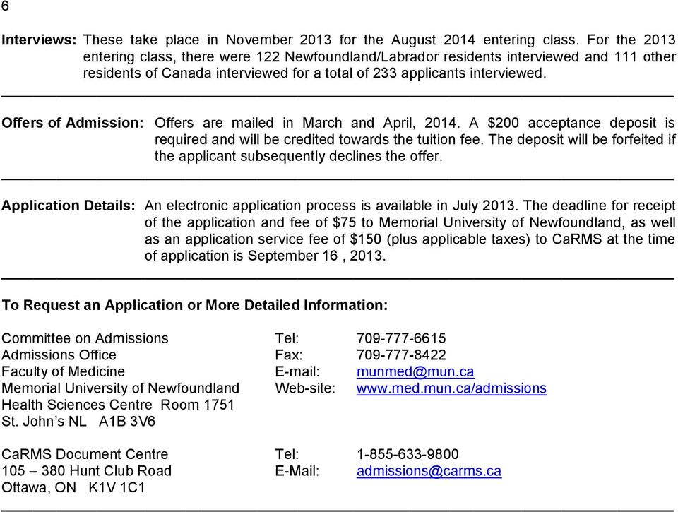 Offers of Admission: Offers are mailed in March and April, 2014. A $200 acceptance deposit is required and will be credited towards the tuition fee.