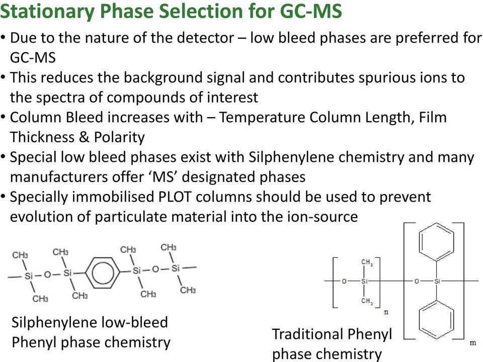 Special low bleed phases exist with Silphenylene chemistry and many manufacturers offer MS designated phases Specially immobilised PLOT columns should