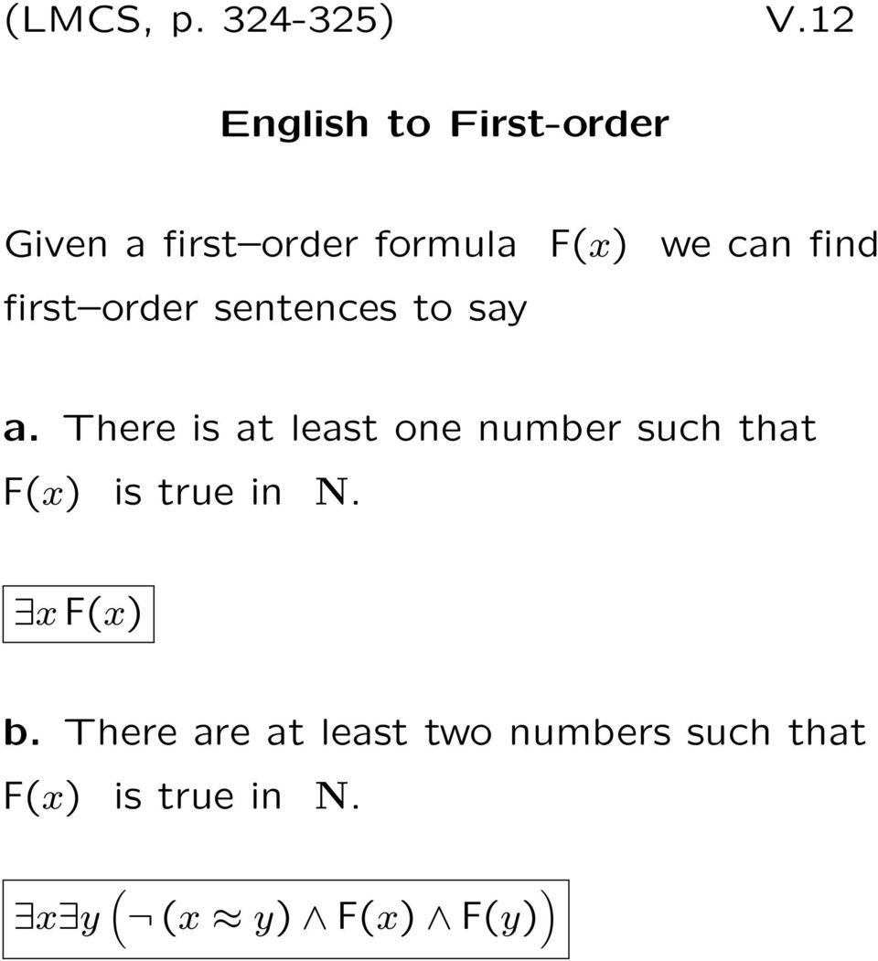 find first order sentences to say a.