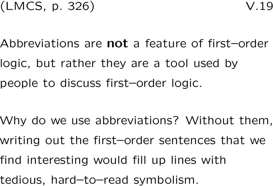 a tool used by people to discuss first order logic.