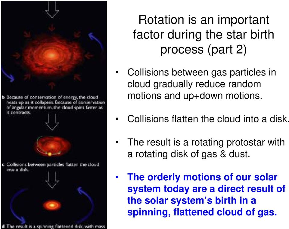 Collisions flatten the cloud into a disk.