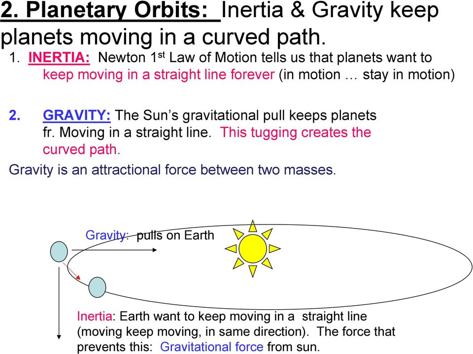 GRAVITY: The Sun s gravitational pull keeps planets fr. Moving in a straight line. This tugging creates the curved path.