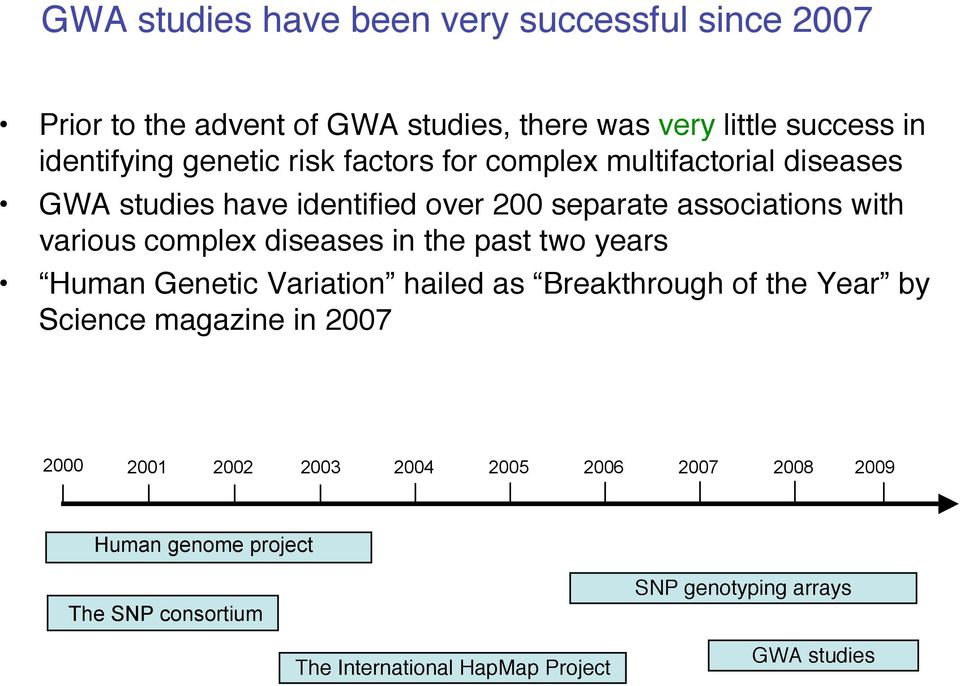 complex diseases in the past two years Human Genetic Variation hailed as Breakthrough of the Year by Science magazine in 2007 2000 2001