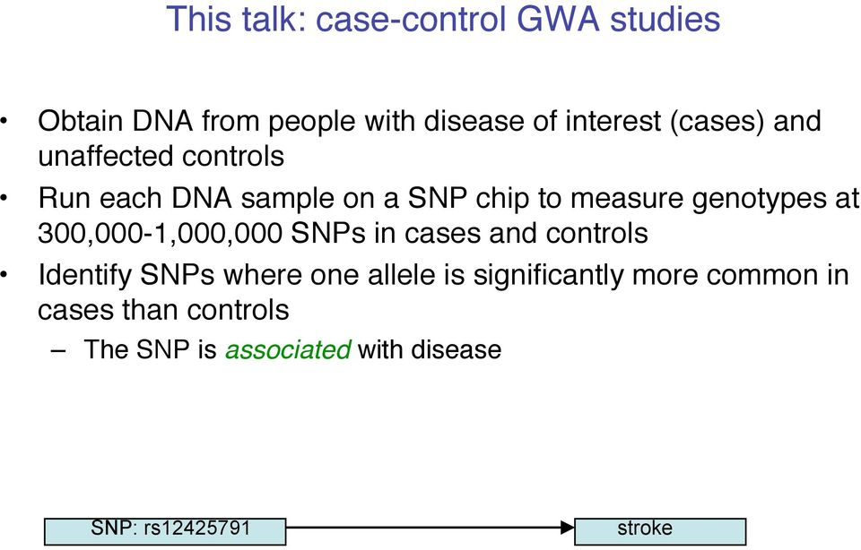 300,000-1,000,000 SNPs in cases and controls Identify SNPs where one allele is
