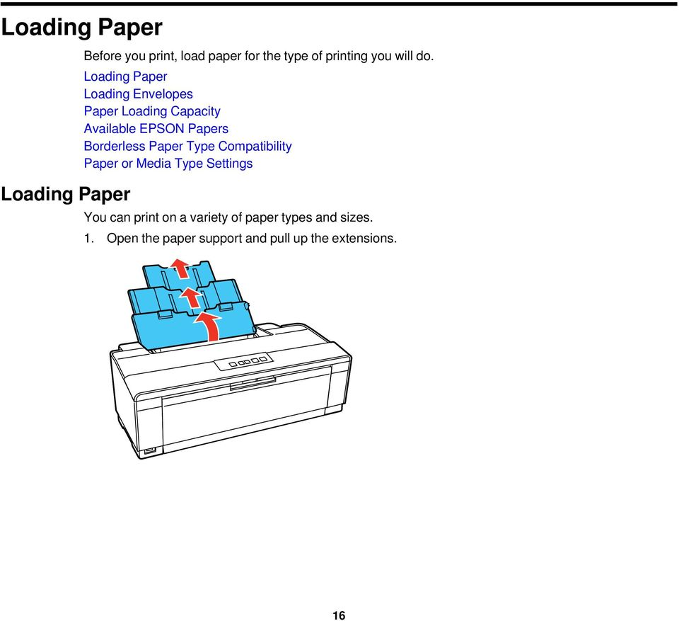Loading Paper Loading Envelopes Paper Loading Capacity Available EPSON Papers