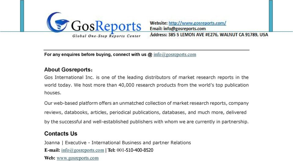 Our web-based platform offers an unmatched collection of market research reports, company reviews, databooks, articles, periodical publications, databases, and much more,