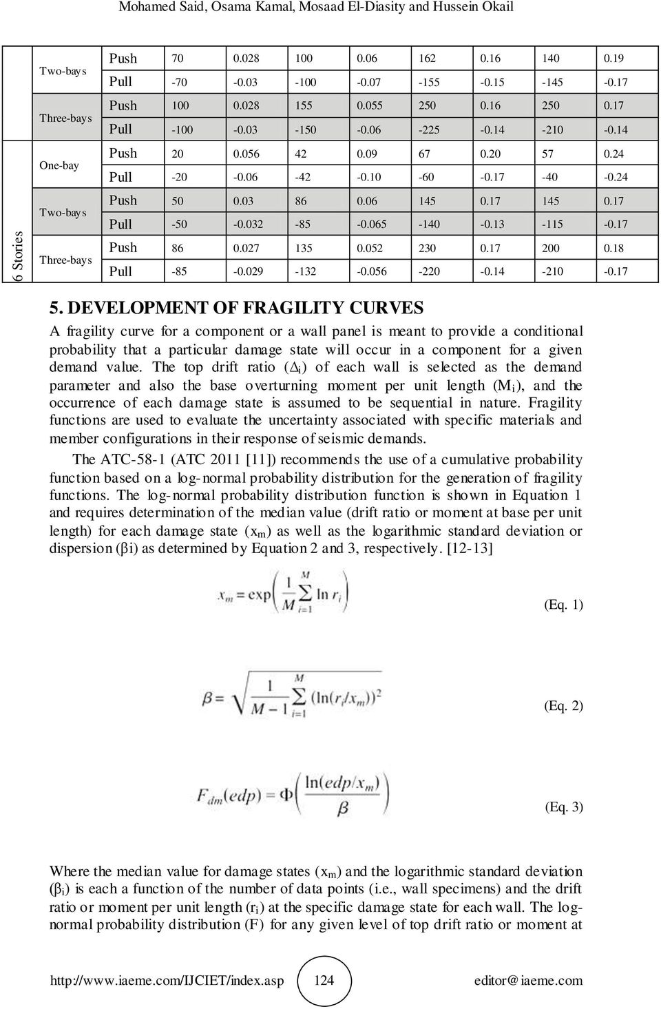 DEVELOPMENT OF FRAGILITY CURVES A fragility curve for a component or a wall panel is meant to provide a conditional probability that a particular damage state will occur in a component for a given