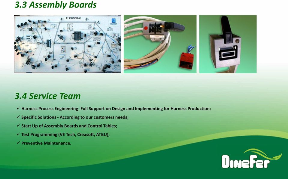 Implementing for Harness Production; Specific Solutions - According to our