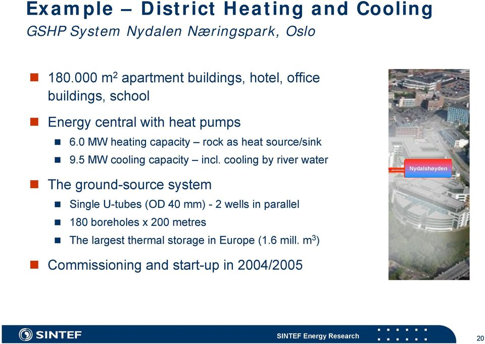 0 MW heating capacity rock as heat source/sink 9.5 MW cooling capacity incl.