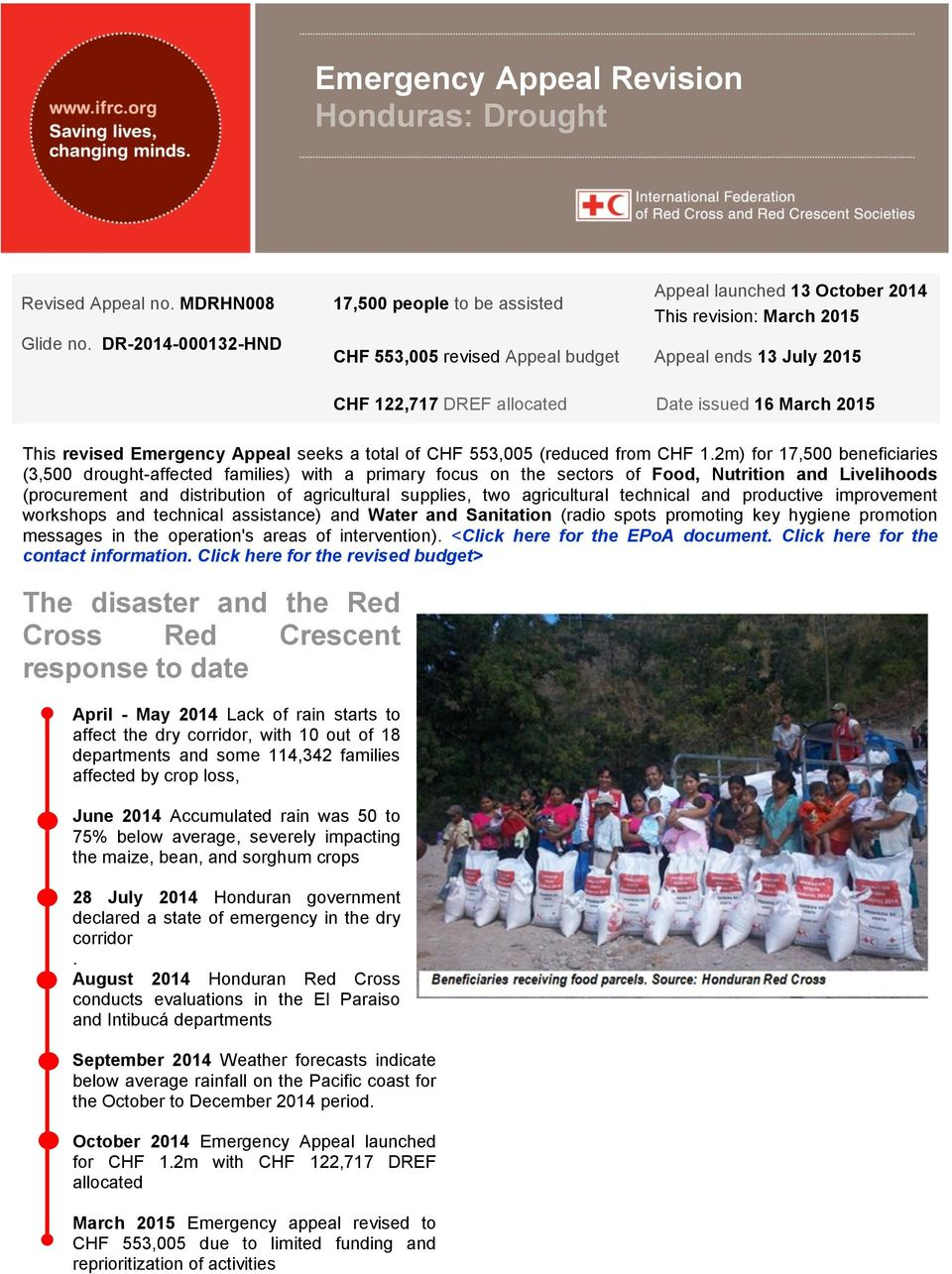 issued 16 March 2015 This revised Emergency Appeal seeks a total of CHF 553,005 (reduced from CHF 1.