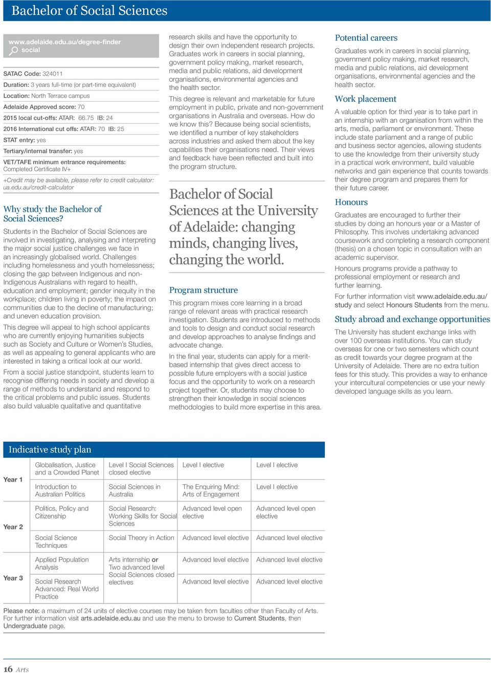 Students in the Bachelor of Social Sciences are involved in investigating, analysing and interpreting the major social justice challenges we face in an increasingly globalised world.