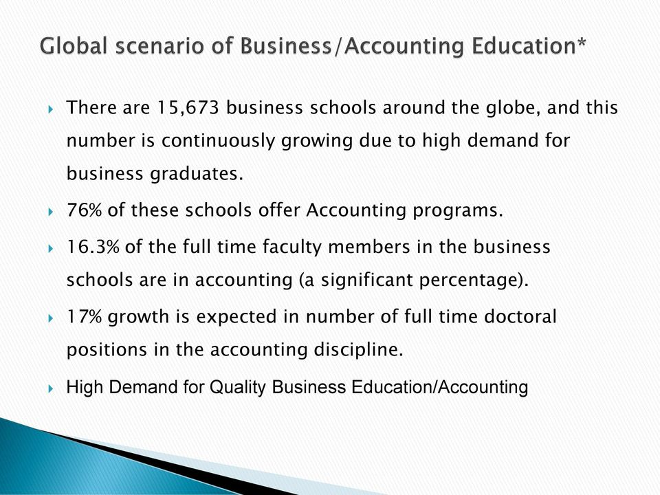 3% of the full time faculty members in the business schools are in accounting (a significant percentage).