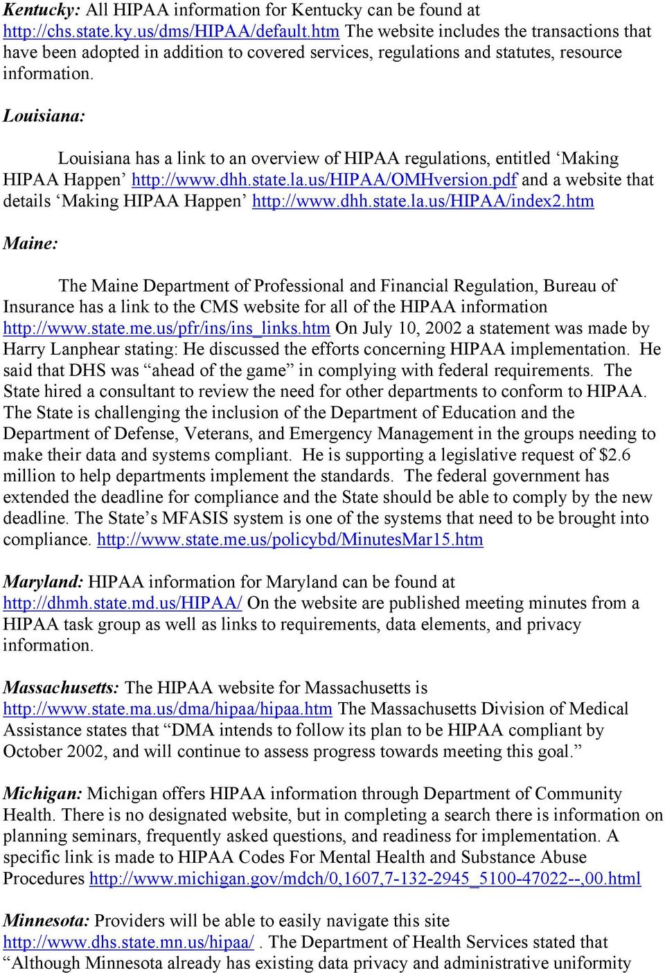 Louisiana: Louisiana has a link to an overview of HIPAA regulations, entitled Making HIPAA Happen http://www.dhh.state.la.us/hipaa/omhversion.