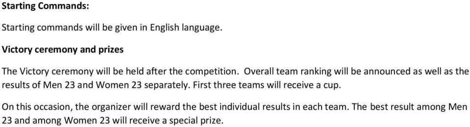 Overall team ranking will be announced as well as the results of Men 23 and Women 23 separately.
