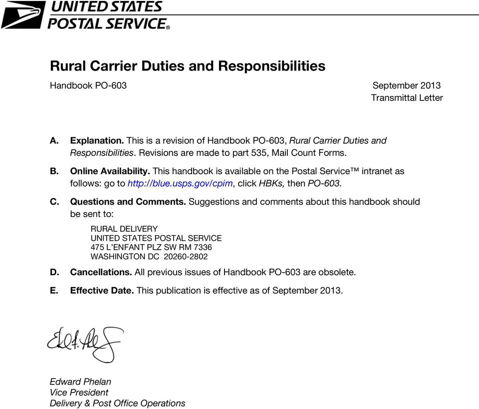 Rural Carrier Transmittal Duties and Letter Responsibilities - PDF