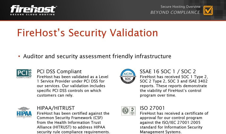 org/soc Formerly SAS 70 Reports SSAE 16 SOC 1 / SOC 2 FireHost has received SOC 1 Type 2, SOC 2 Type 2, SOC 3 and ISAE 3402 reports.