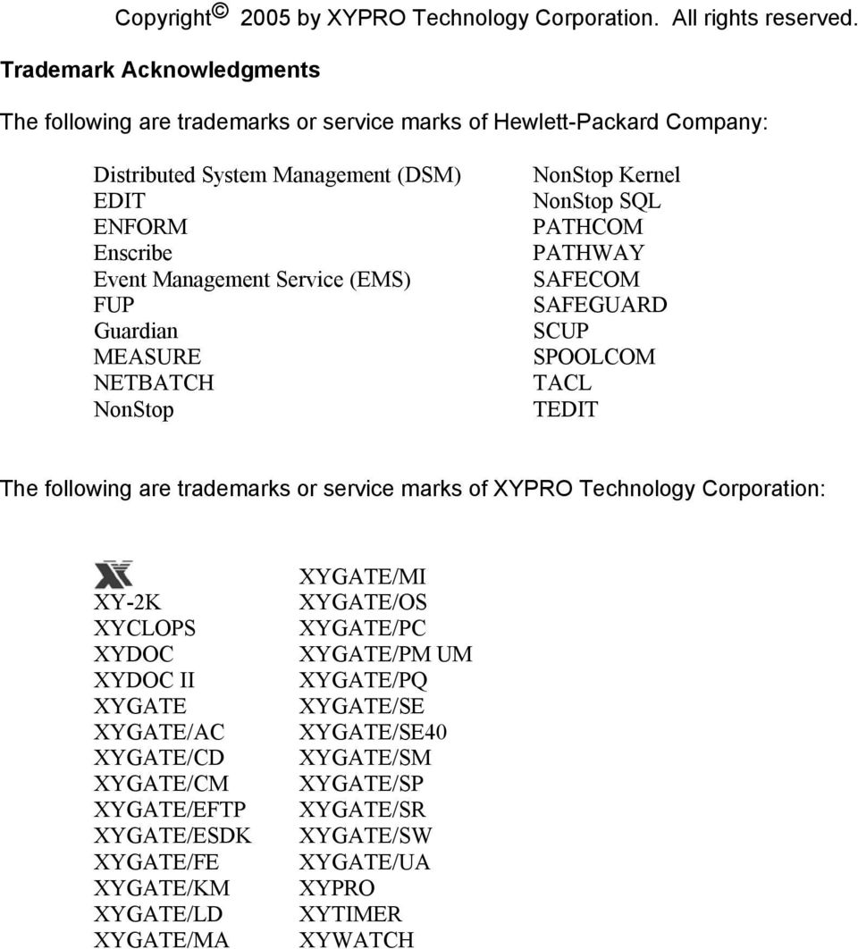 (EMS) FUP Guardian MEASURE NETBATCH NonStop NonStop Kernel NonStop SQL PATHCOM PATHWAY SAFECOM SAFEGUARD SCUP SPOOLCOM TACL TEDIT The following are trademarks or service marks of