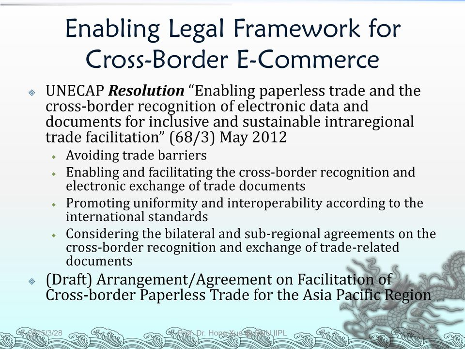 documents Promoting uniformity and interoperability according to the international standards Considering the bilateral and sub-regional agreements on the cross-border recognition