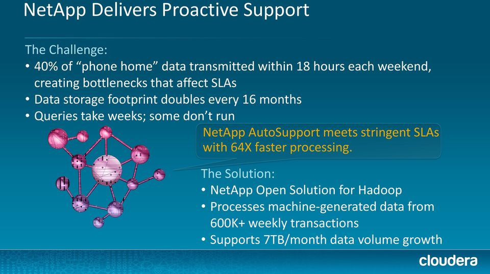 weeks; some don t run NetApp AutoSupport meets stringent SLAs with 64X faster processing.