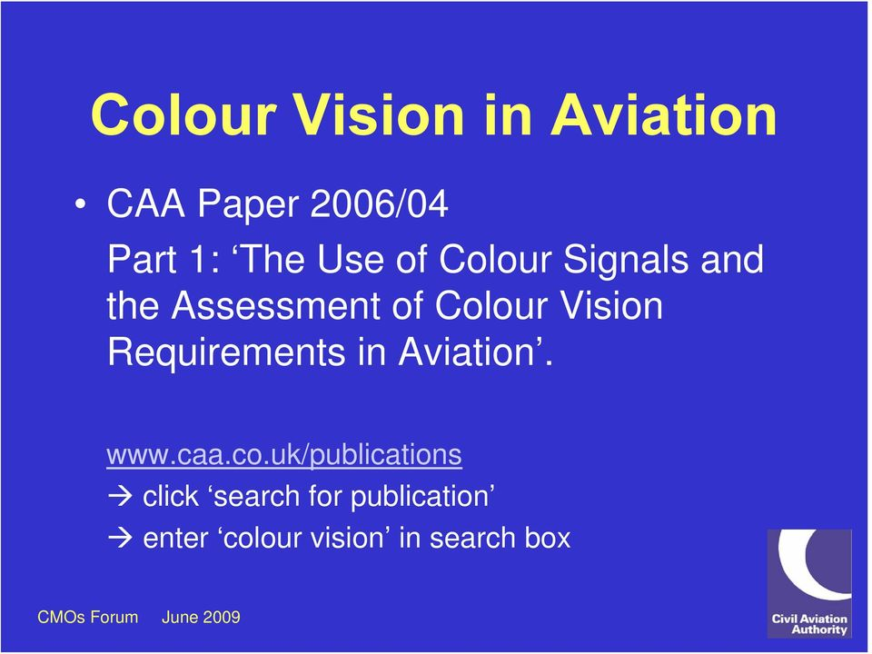 Requirements in Aviation. www.caa.co.