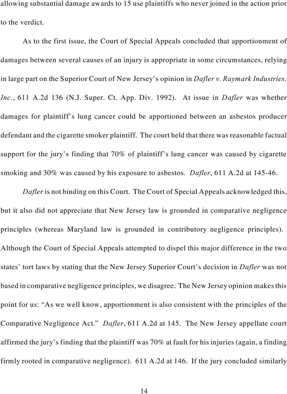 Superior Court of New Jersey s opinion in Dafler v. Raymark Industries, Inc., 611 A.2d 136 (N.J. Super. Ct. App. Div. 1992).