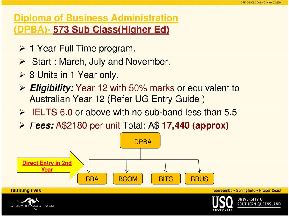 Eligibility: Year 12 with 50% marks or equivalent to Australian Year 12 (Refer UG Entry Guide )