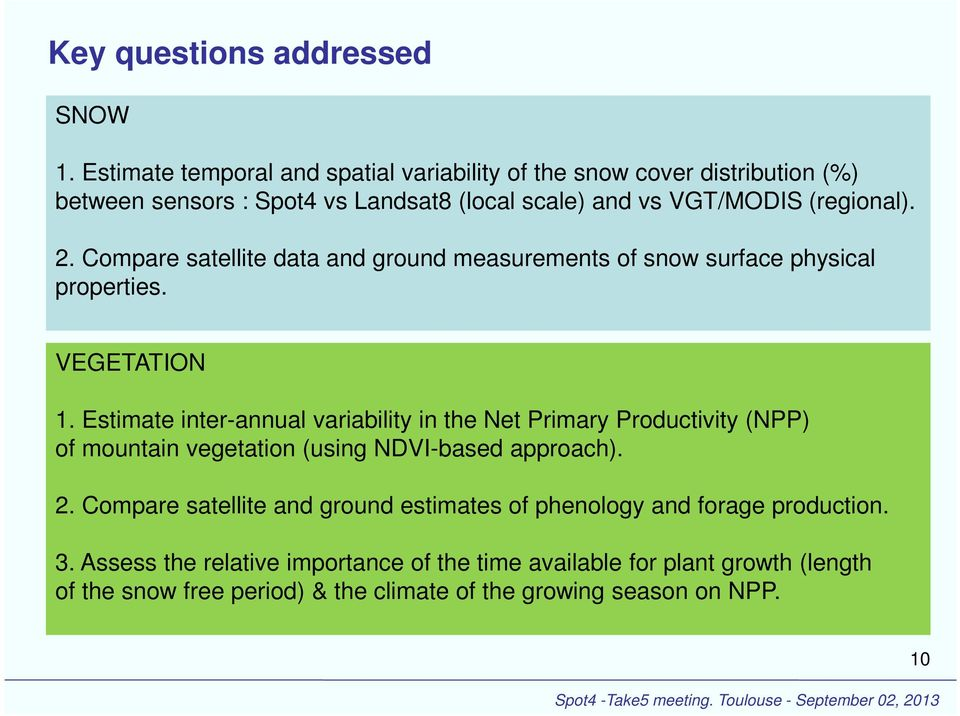 Compare satellite data and ground measurements of snow surface physical properties. VEGETATION 1.